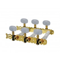 Boston 129-G  machine heads for classic guitar, nylon shaft, 3x left+3x right, 70mm, gold, pearloid buttons