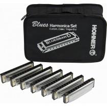 Hohner Blues Band Harmonica - Pakke med 7 munnspill og bag