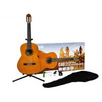 Yamaha C40 II Performance Pack - Klassisk gitarpakke med stativ, trekk, fotskammel og tuner