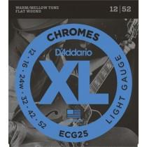 D'Addario ECG25 Chromes Flat Wound, Jazz Light, 12-52