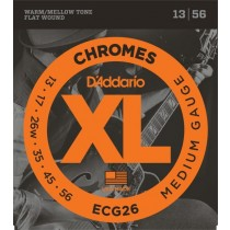 D'Addario ECG26 Chromes Flat Wound, Jazz Light, 13-56