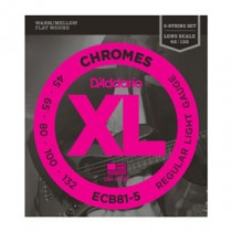 D'Addario ECB81-5 Chromes Bass 5-String, Light, 45-132, Long Scale Flatwound