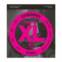 D'Addario ECB81 Chromes Bass, Light, 45-100, Long Scale Flatwound