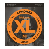 D'Addario ECB82 Chromes Bass, Medium, 50-105, Long Scale Flatwound