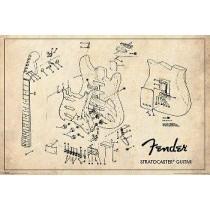 """Fender """"Exploding Stratocaster"""" - Plakat"""