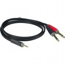 Klotz AY5-0100 - 1m stereo minijack til 2 jack