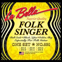 LaBella Classical 830 Folksinger - Black Nylon, Silver-Plated Set