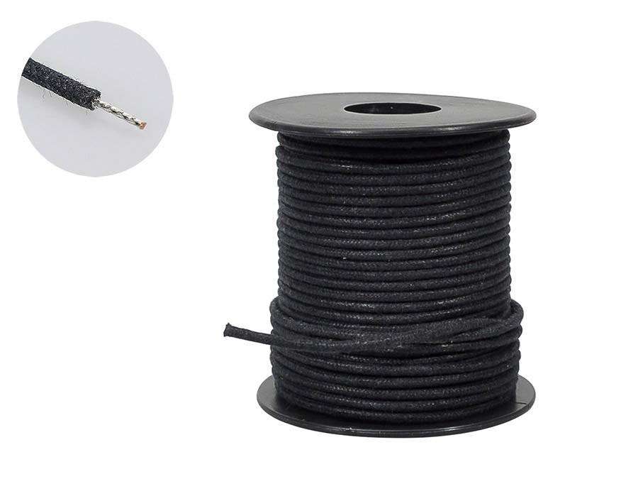 Boston USA made (Gavitt) waxed cotton braided push back wire - sort - pr. halvmeter!