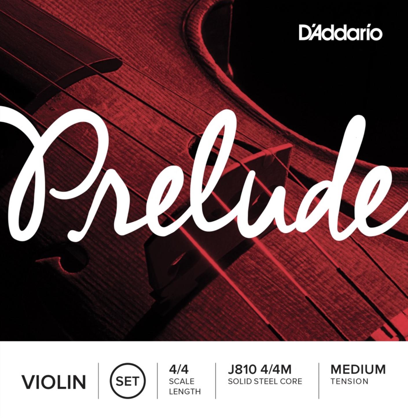 D'Addario Prelude J810 4/4M strengesett for fiolin 4/4 Medium Tension