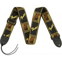 """Fender 2"""" Monogrammed Straps - Black/Yellow/Brown - Gitarreim"""