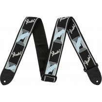 "Fender 2"" Monogrammed Straps - Black/Light Grey/Blue - Gitarreim"