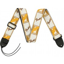 "Fender® 2"" Monogrammed Straps White/Brown/Yellow - Gitarreim"