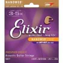 ELIXIR 16077 Phosphor Bronze NANOWEB Light-Medium 12-56. Strengesett til akustisk gitar.
