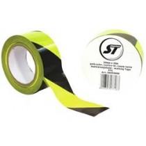 Markeringstape PVC sort/gul, 55mm x 33m