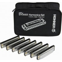 Hohner Blues Band Harmonica - Pakke med 7 munnspill og bag