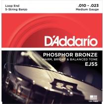 D'addario EJ55 - 5 str. Banjo Phosphor Bronze - Medium tension