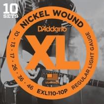 D'addario EXL110-10P - 10-pack med .010 strenger til el.gitar