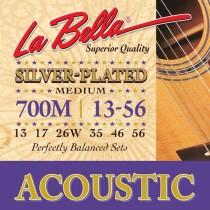 LaBella 700M Acoustic Silver Plated Guitar Med. 13-56 - Strengesett