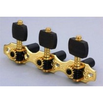 ALLPARTS TK-7942-0E2 Gold-Ebony Classical Hauser Style Tuner Set