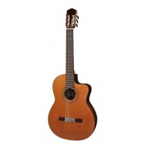 Salvador Cortez CC-62CE Solid Top Concert Series classic guitar, narrow/crossover neck, solid cedar top, cutaway, Fishman ISY-201, with dlx case