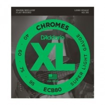 D'Addario ECB80 Chromes Bass, Light, 40-95, Long Scale Flatwound