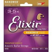 ELIXIR 16102 Phosphor Bronze NANOWEB Medium 13-56. Strengesett til akustisk gitar.