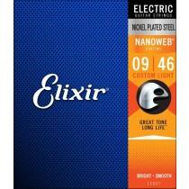 Elixir Nanoweb Custom Light .009 - .046 - Strengesett til elektrisk gitar