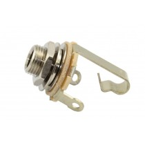 "Switchcraft SC-11  chassis connector jack. 2-pole. nickel. 6.3mm. .276 bushing depth. 3/8"" 32 thread"