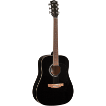 EKO RANGER6-BLK Dreadnought Acoustic Guitar, Black