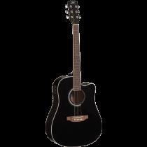 Eko RANGERCW-EQ-BLK Dreadnought Acoustic Guitar, Cutaway, SE-30 Microphone, Black