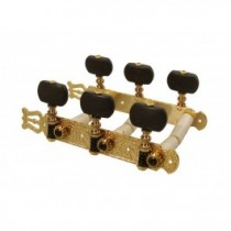 Salvador Cortez MH093GK-A1B genuine replacement part set of machine heads 3L3R, gold with black pegs, for model 55, 60, 65