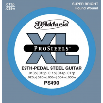 D'Addario EPS490 ProSteels, Pedal Steel Strings for E9-stemt Pedal Steel Guitar.