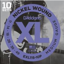 D'addario EXL115-10P - 10-pack med .011 strenger til el.gitar